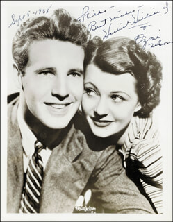 Autographs: ADVENTURES OF OZZIE & HARRIET T.V. CAST - INSCRIBED PHOTOGRAPH SIGNED 09/05/1938 CO-SIGNED BY: HARRIET HILLIARD NELSON, OZZIE NELSON