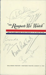 Autographs: GEORGE BURNS - PROGRAM SIGNED CIRCA 1940 CO-SIGNED BY: ROBERT TAYLOR, BASIL RATHBONE, JACK OAKIE, BRENDA JOYCE