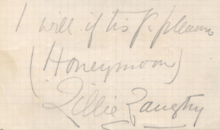 LILLIE THE JERSEY LILY LANGTRY - AUTOGRAPH NOTE SIGNED