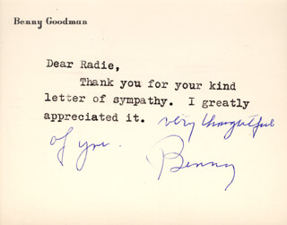 BENNY GOODMAN - TYPED NOTE SIGNED