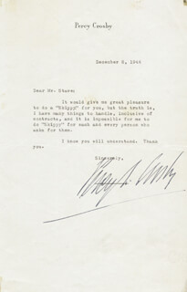 Autographs: PERCY CROSBY - TYPED LETTER SIGNED 12/08/1944