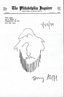 Autographs: TONY AUTH - SELF-CARICATURE SIGNED 07/25/1979