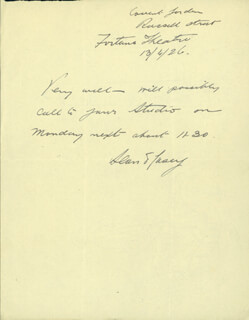 SEAN O'CASEY - AUTOGRAPH NOTE SIGNED 04/13/1926