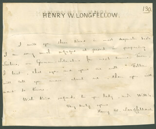 HENRY WADSWORTH LONGFELLOW - AUTOGRAPH LETTER SIGNED CO-SIGNED BY: JOHANNES TRUMBULL