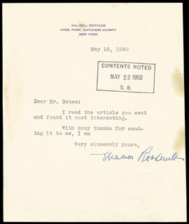 Autographs: FIRST LADY ELEANOR ROOSEVELT - TYPED LETTER SIGNED 05/16/1950