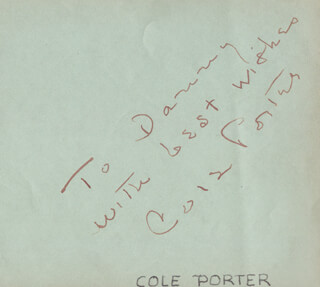 COLE PORTER - INSCRIBED SIGNATURE