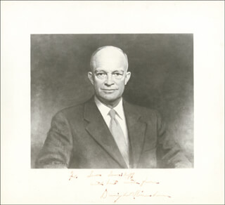 PRESIDENT DWIGHT D. EISENHOWER - INSCRIBED ILLUSTRATION SIGNED