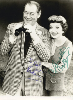REX HARRISON - AUTOGRAPHED INSCRIBED PHOTOGRAPH CO-SIGNED BY: CLAUDETTE COLBERT