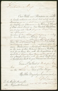 Autographs: QUEEN VICTORIA (GREAT BRITAIN) - MANUSCRIPT DOCUMENT SIGNED 05/19/1840 CO-SIGNED BY: THOMAS B. MACAULAY