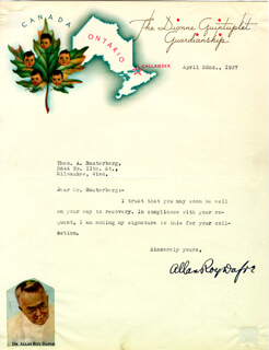 ALLAN DAFOE - TYPED LETTER SIGNED 04/22/1937