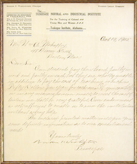 BOOKER T. WASHINGTON - MANUSCRIPT LETTER SIGNED 10/19/1905