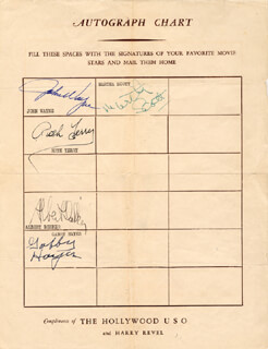 JOHN DUKE WAYNE - AUTOGRAPH CO-SIGNED BY: RUTH TERRY, GEORGE GABBY HAYES, MARTHA SCOTT, ALBERT DEKKER