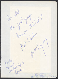 GENEVIEVE ANTOINE DARIAUX - AUTOGRAPH NOTE SIGNED 03/23/1965 CO-SIGNED BY: DONALIE YOUNG, BARRY YOUNG