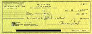 MAE WEST - AUTOGRAPHED SIGNED CHECK 01/22/1980 CO-SIGNED BY: BEVERLY WEST