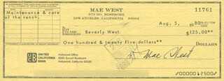 MAE WEST - AUTOGRAPHED SIGNED CHECK 08/05/1980 CO-SIGNED BY: BEVERLY WEST, CHARLES H. KRAUSER