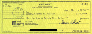 MAE WEST - AUTOGRAPHED SIGNED CHECK 08/23/1978 CO-SIGNED BY: CHARLES H. KRAUSER
