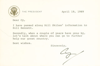 PRESIDENT GEORGE H.W. BUSH - TYPED LETTER SIGNED 04/19/1989