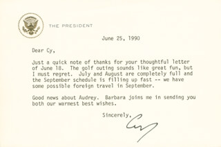 PRESIDENT GEORGE H.W. BUSH - TYPED LETTER SIGNED 06/25/1990