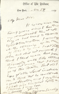 HORACE GREELEY - AUTOGRAPH LETTER SIGNED 11/29/1864