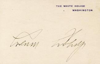 PRESIDENT CALVIN COOLIDGE - WHITE HOUSE CARD SIGNED
