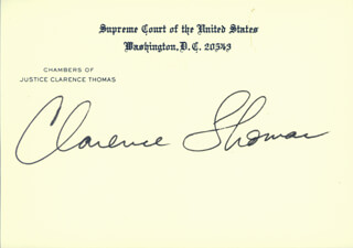 ASSOCIATE JUSTICE CLARENCE THOMAS - SUPREME COURT CARD SIGNED