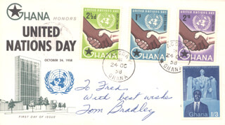 MAYOR TOM BRADLEY - FIRST DAY COVER WITH AUTOGRAPH SENTIMENT SIGNED