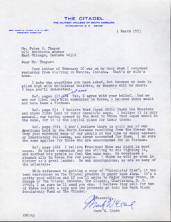 Autographs: GENERAL MARK W. CLARK - TYPED LETTER SIGNED 03/01/1973