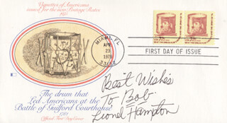LIONEL HAMPTON - FIRST DAY COVER WITH AUTOGRAPH SENTIMENT SIGNED