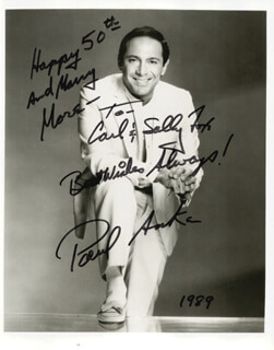 Autographs: PAUL ANKA - INSCRIBED PHOTOGRAPH SIGNED 1989