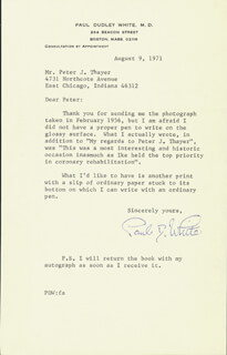 PAUL DUDLEY WHITE - TYPED LETTER SIGNED 08/09/1971