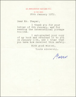 CHARLES BARON MORAN WILSON - TYPED LETTER SIGNED 01/26/1972