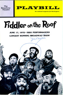 FIDDLER ON THE ROOF PLAY CAST - SHOW BILL SIGNED CIRCA 1972 CO-SIGNED BY: JERRY (JERROLD LEWIS) BOCK, SHELDON M. HARNICK, ZERO MOSTEL