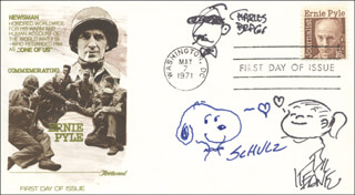 CHARLES M. SCHULZ - ORIGINAL ART ON FIRST DAY COVER SIGNED CO-SIGNED BY: BIL KEANE, CHARLES BRAGG