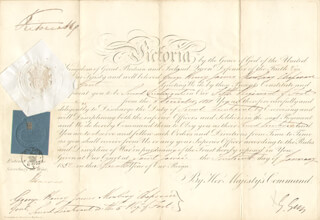 Autographs: QUEEN VICTORIA (GREAT BRITAIN) - MILITARY APPOINTMENT SIGNED 01/14/1852 CO-SIGNED BY: HENRY GEORGE EARL GREY III
