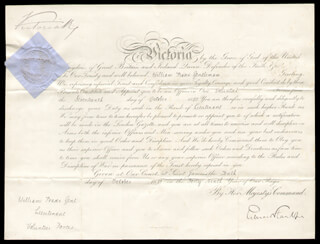 Autographs: QUEEN VICTORIA (GREAT BRITAIN) - MILITARY APPOINTMENT SIGNED 10/10/1885 CO-SIGNED BY: EDWARD STANHOPE