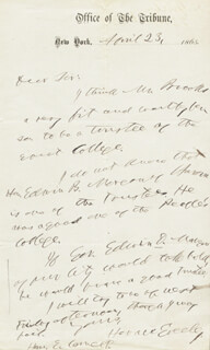 HORACE GREELEY - AUTOGRAPH LETTER SIGNED 04/23/1865