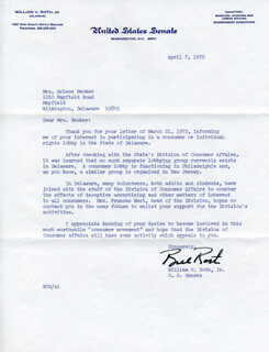 WILLIAM VICTOR ROTH JR. - TYPED LETTER SIGNED 04/07/1972