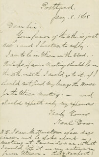 BRIGADIER GENERAL NEAL DOW - AUTOGRAPH LETTER SIGNED 01/08/1868