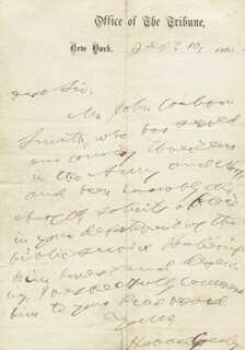 HORACE GREELEY - AUTOGRAPH LETTER SIGNED 09/10/1865