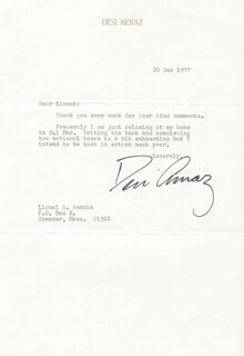 DESI ARNAZ SR. - TYPED LETTER SIGNED 12/20/1977