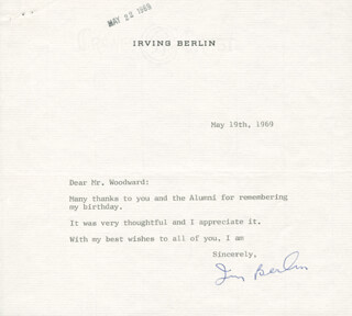 Autographs: IRVING BERLIN - TYPED LETTER SIGNED 05/19/1969