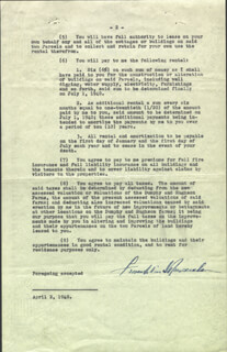 PRESIDENT FRANKLIN D. ROOSEVELT - DOCUMENT SIGNED 04/02/1940