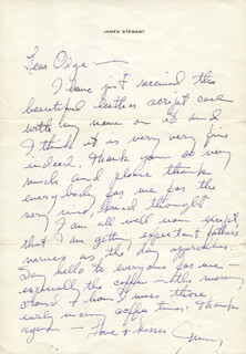 JAMES JIMMY STEWART - AUTOGRAPH LETTER SIGNED