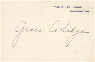FIRST LADY GRACE COOLIDGE - WHITE HOUSE CARD SIGNED