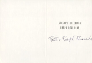 Autographs: RALPH J. BUNCHE - CHRISTMAS / HOLIDAY CARD SIGNED
