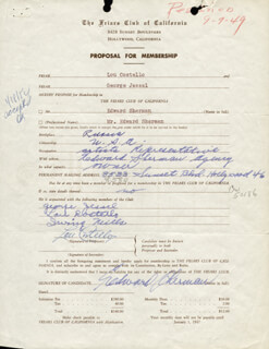 Autographs: ABBOTT & COSTELLO (LOU COSTELLO) - DOCUMENT SIGNED CO-SIGNED BY: EDWARD SHERMAN