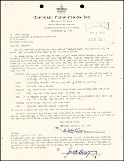 JACK DEMPSEY - DOCUMENT SIGNED