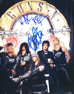 GUNS N' ROSES - AUTOGRAPHED SIGNED PHOTOGRAPH CO-SIGNED BY: GUNS N' ROSES (SLASH ), GUNS N' ROSES (AXL ROSE)