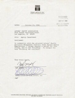 FRED GWYNNE - DOCUMENT SIGNED 10/13/1988