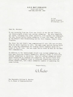 ADMIRAL HYMAN G. RICKOVER - TYPED LETTER SIGNED 02/28/1967